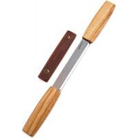 DK1S Cutit de sculptura cu maner de stejar si teaca de piele, BeaverCraft