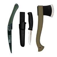 Set cuţit, fierastrau si topor pentru bushcraft/ camping/ vanatoare