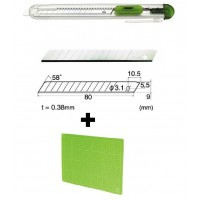 Set Cutter / cutit utilitar transparent mic NT Cutter - 9mm + 10 lame de schimb + placa de taiere A4