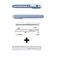 Set Cutter / cutit utilitar mic NT Cutter - 9mm + 10 lame de schimb + rigla 30 cm.