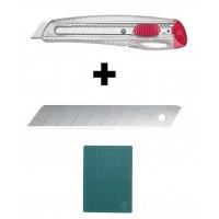 Set Cutter/cutit utilitar mediu cu lama de 18mm + 10 lame de schimb NT Cutter