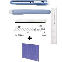 Set Cutter / cutit utilitar mic NT Cutter - 9mm + 10 lame de schimb + placa de taiere A4
