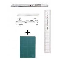 Set Cutter / cutit utilitar INOX mic - NT Cutter - 9mm + 10 lame schimb + placa CM A3